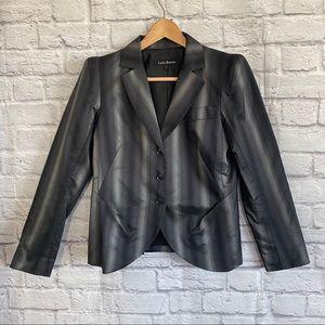 LIDA BADAY Black/Gray Silk Blend Blazer